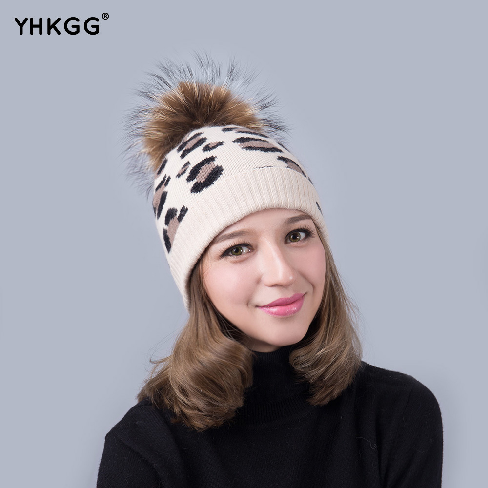 e472b31ec898e YHKGG 2018 Real RaccoonWinter with Fur Ball Knitted Hat Autumn and Winter Knitted  Hat Leopard Pompom Beanie Hats in Women s Cap-in Skullies   Beanies from ...