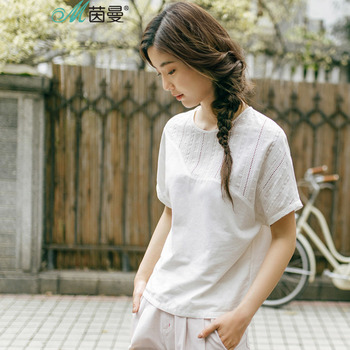 INMAN 2018 New Products Women Summer Batwing Sleeve Pullovers Shirt Women Cotton Blouses Shirts Рукав