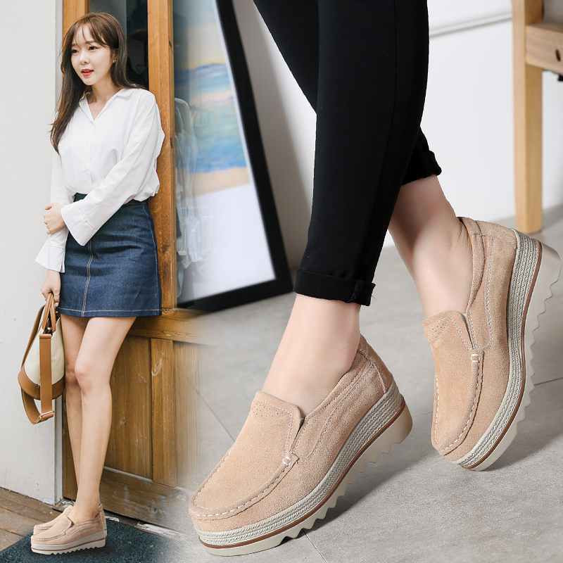 2019 Spring Women Flats Shoes Platform Sneakers Slip On Flats   Leather     Suede   Ladies Loafers Moccasins Casual Shoes Women H-710