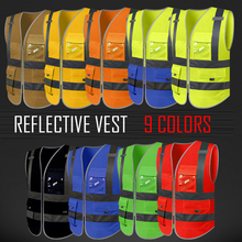 ФОТО high visibility waistcoat reflective safety vests for mens construction worker night runner cyclist silk screen logo printing