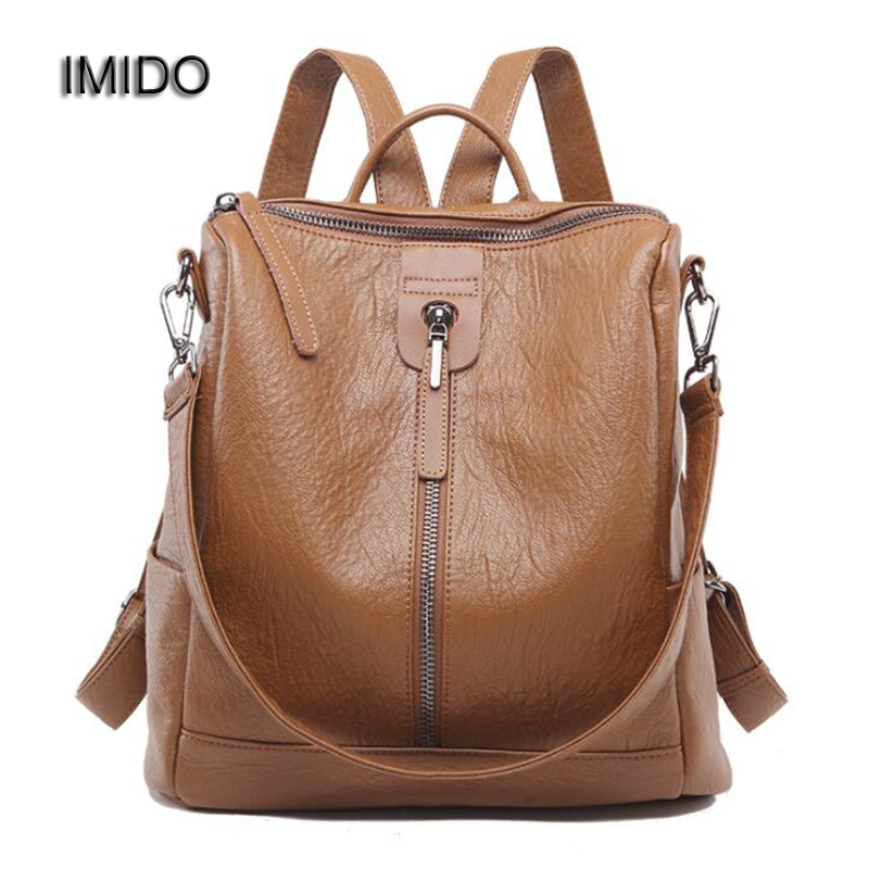 IMIDO High Quality Soft Leather Women Backpack for Ladies travel Bag Girls School Bags Brand Mochila Feminina Brown Black SLD080 vintage casual leather travel bags famous brand school backpacks women bag mochila backpack lovely girls school bags ladies bag