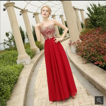 Robe De Soiree 2016 Red Lace Appliques evening dress sexy beading crystals chiffon formal evening gowns best selling