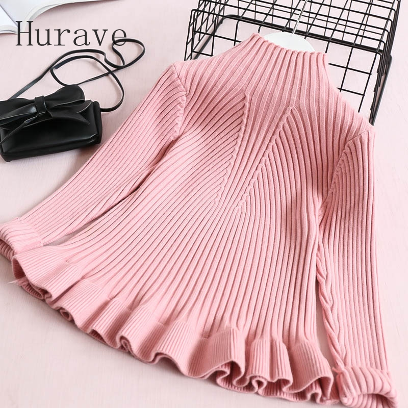 Hurave 2017 fashion ruffles elasticity children sweater for girl kids clothes boy sweater S2L3