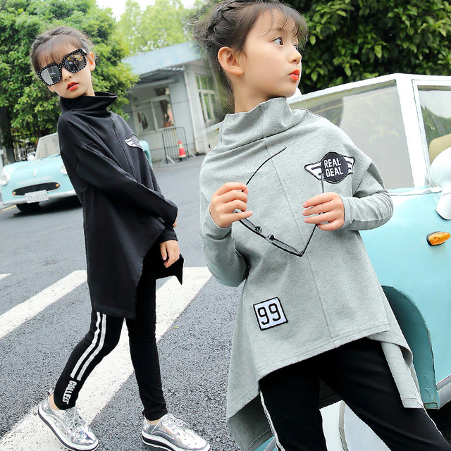 Autumn Outfits New 2018 Girls Two-piece Set Big Children Korean Letter Leisure Clothing Suit Long Sleeve Sports Tracksuit CLS230