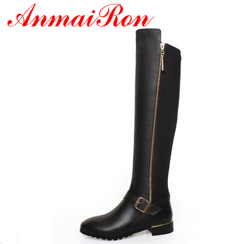 ANMAIRON Women Knee-high Boots Shoes Woman Classic Black Shoes PU+Genuine Leather Round Toe Low Heels Winter Warm Boots Shoes anmairon high heels lace charms shoes woman over the knee boots zippers round toe long boots size 34 39 black winter boots shoes