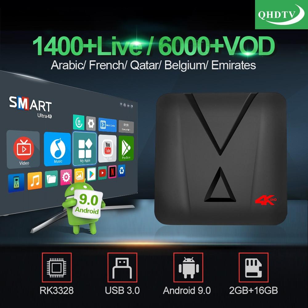 IPTV France MX10 Mini Android 9.0 Tv Box With 1 Year QHDTV IPTV RK3328 Arabic French IPTV Belgium Morocco Netherlands IP TV