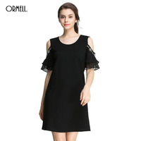 ORMELL Off Shoulder Women Dresses Sexy Dress 2017 Summer Solid Black Round Neck Ladies Drill Vintage