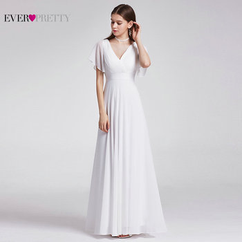 Ever Pretty Cheap Chiffon Wedding Dress Elegant A Line V Neck Flare Sleeve Long Beach Bridal Gown 2019 Robe De Mariee EP09890WH 4