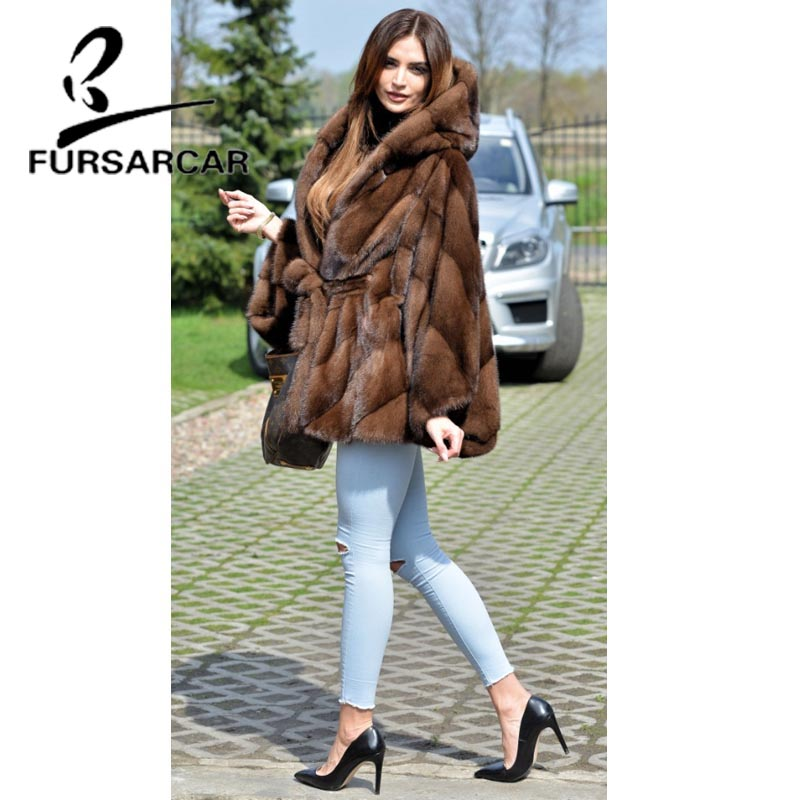Image 5 - FURSARCAR Women Real Fur Coat New Fashion Bat Sleeved Thick Warm Mink Fur Coat With Hood Winter Luxury Female Nature Fur Jacket-in Real Fur from Women's Clothing