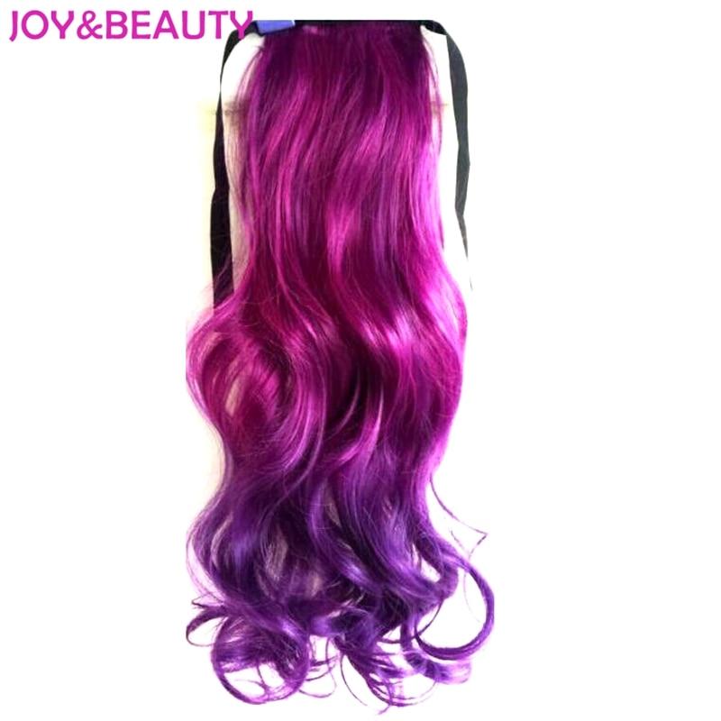 Glädje och skönhet hår hög temperatur fiber långa vågig ombre klämma i sytisk hår hästsvans 22inch 14 färg