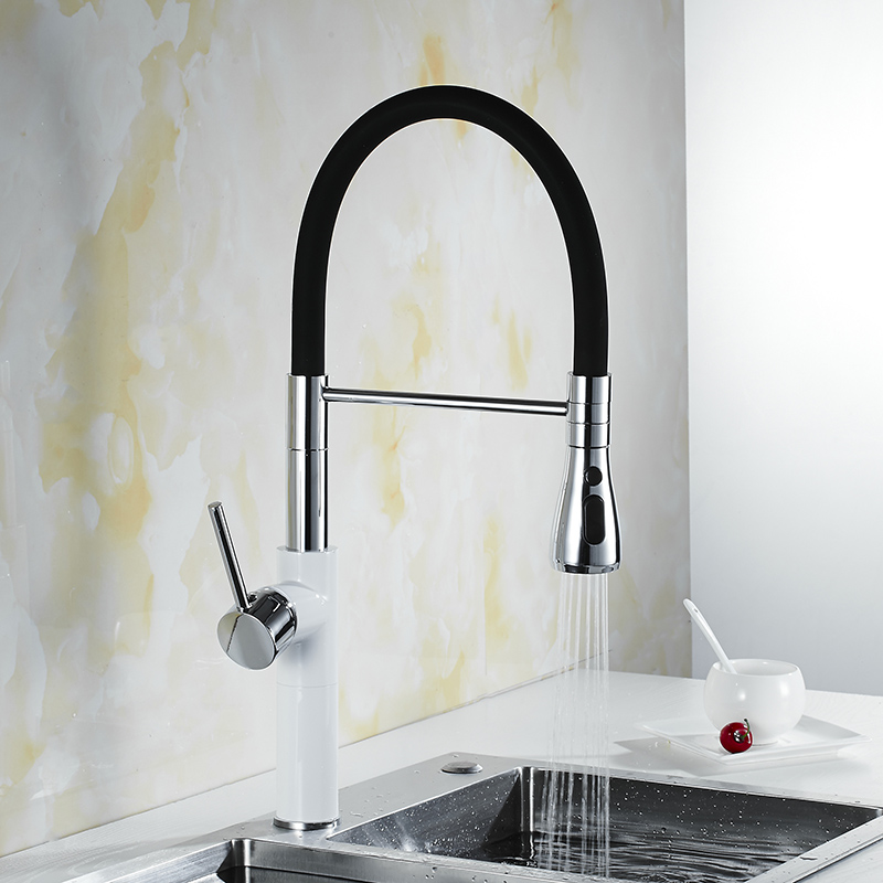 Pull Out Kitchen Faucets Deck Mounted 360 Degree Rotation White/Black Mixer Tap Hot and Cold Swivel Mixer Tap Crane For KitchenPull Out Kitchen Faucets Deck Mounted 360 Degree Rotation White/Black Mixer Tap Hot and Cold Swivel Mixer Tap Crane For Kitchen