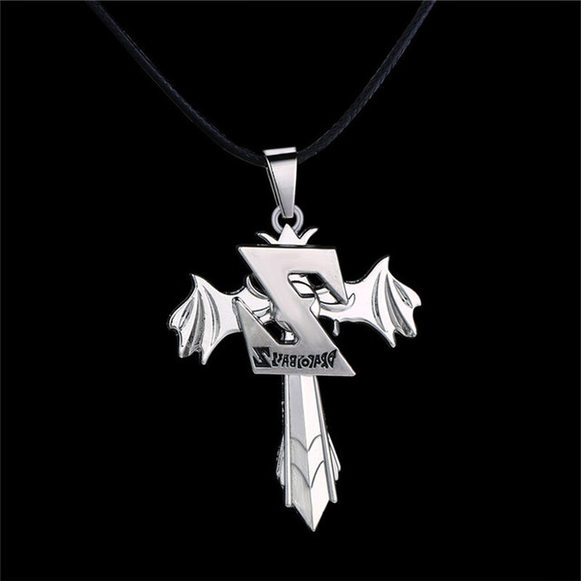 Dragon Ball Z logo Rotatable Pendant Silver Plated Rope Leather Necklace