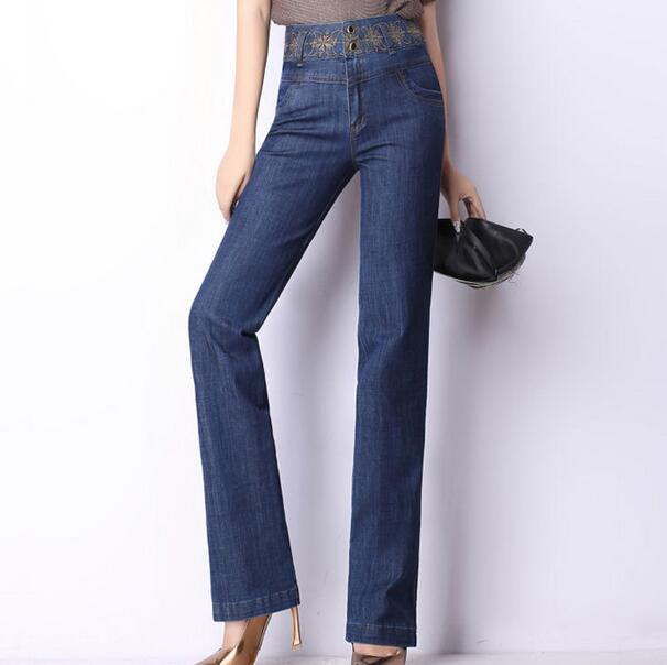 Elastic high waist jeans embroidered denim trousers 2016 new spring autumn ladies large size cowboy Slim pants women D234 plus size pants the spring new jeans pants suspenders ladies denim trousers elastic braces bib overalls for women dungarees