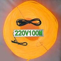 Желтый цвет (десять цветов для выбора) диаметр 5 мм el провода 100 м + 220V100 M el инвертор праздник света украшения свет