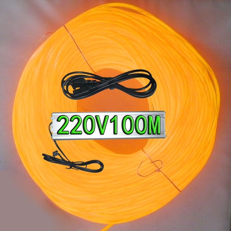 Yellow color(ten colors for choosing)Diameter 5MM el wire 100 meters+220V100 M el inverter holiday light decoration light