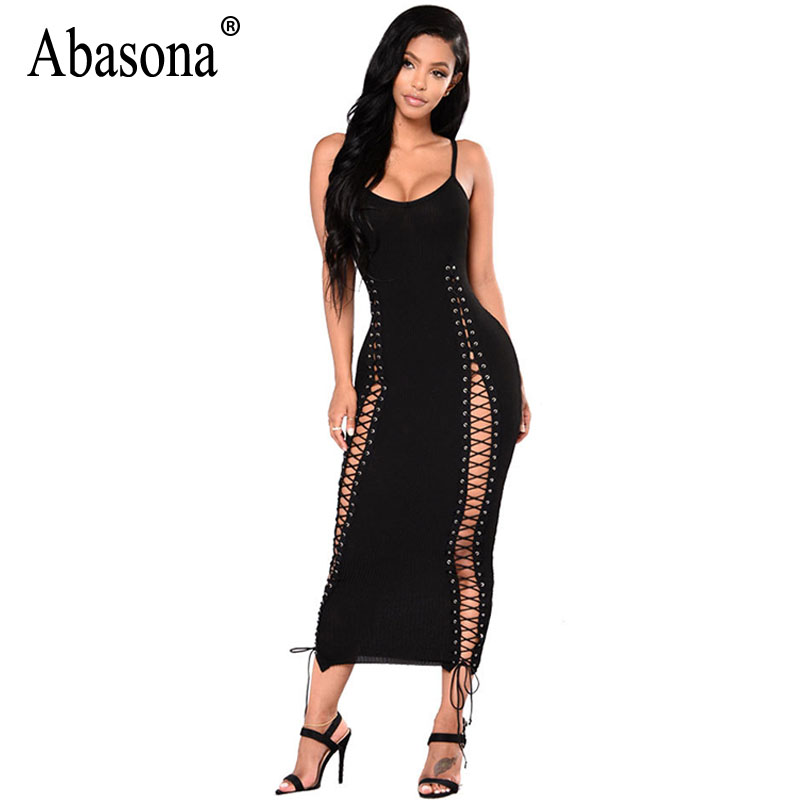 Abasona Women Lace Up Dress Black Sexy Hollow Out Long Bodycon Dresses Party Club Women Spaghetti Strap Knitted Ribbed Dress