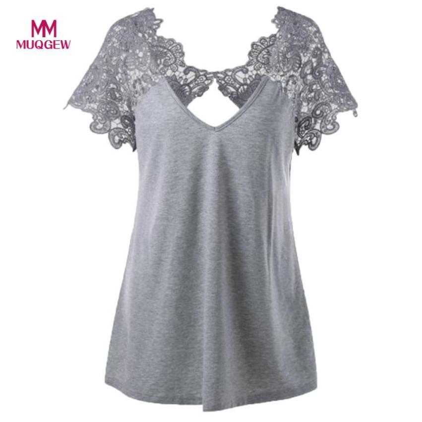 2018 Womens Fashion V-Neck Plus Size Lace Short Sleeve Trim Cutwork T-Shirt Tops plus size Lace poleras de mujer moda 2018