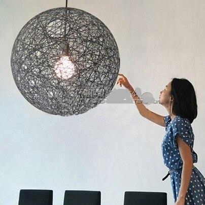En osier à la main En Rotin moderne suspendus lampes Éclairage ombre led lampes suspendues twiner Naturel vigne ballon rond