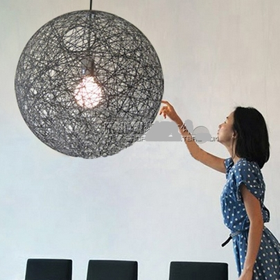 Wicker handmade Rattan modern hanging lamps Lighting shadow led pendant lights Natural twiner vine round ball image