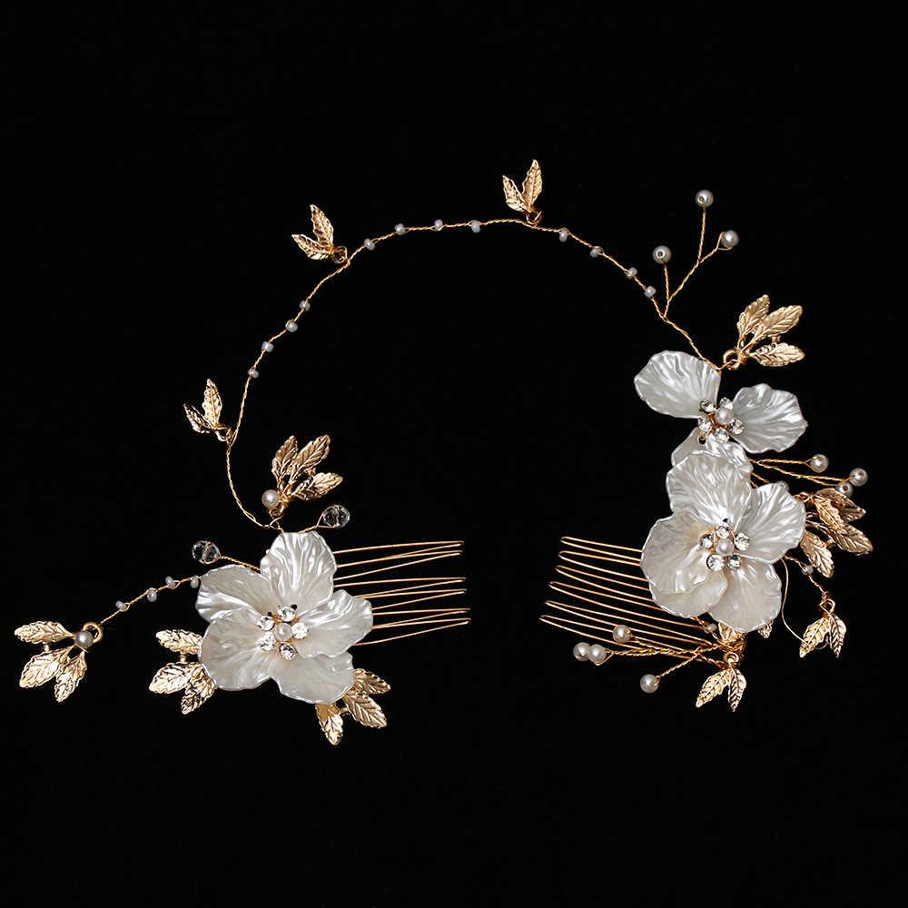 1 pièces 2019 mode perle fleurs inséré peigne belle mariée bandeau mariée mariage coiffure cheveux bijoux ornements femmes Gif
