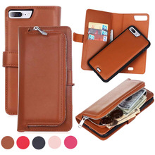 Luxury 2 in 1 Multifunction Detachable Magnetic Flip Wallet Leather Cover Case For iPhone 6 6S 7 Plus Phone Cases with Card Slot