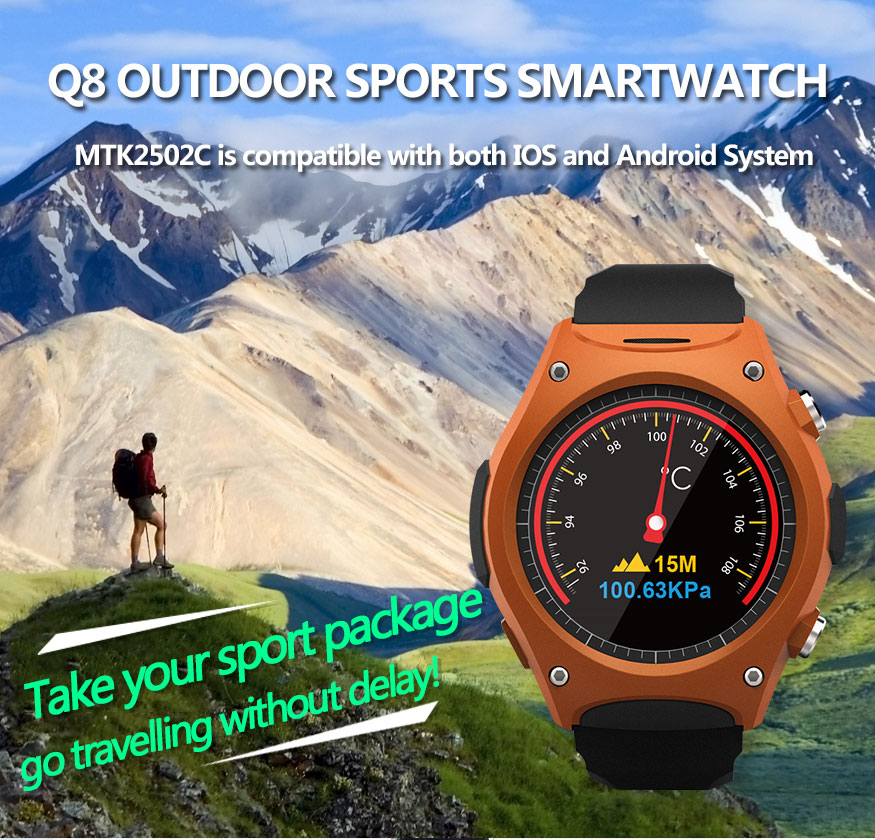 ФОТО  Outdoor Sports Smart Watch Q8 MTK2502C Compatible with IOS and Android System Answer phone Calls Thermometer