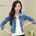 2016 New Hot Sale Women Clothing Lady Spring and Autumn Jeans Jackets Plus Size Blue Color  Denim Short Jacket Coat B150
