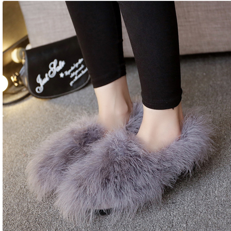 NEW Arrivals 2017 Autumn Winter Fur Flat Shoes font b Women b font Deep Mouth font
