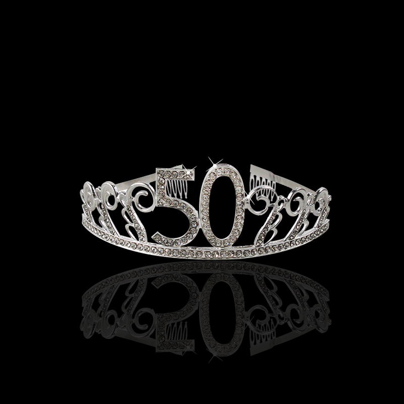 Image 4 - 30 40 50 Birthday Party Decorations Adult Crystal Rhinestone Tiara Princess Crown Hairbands Accessories Happy 30 Year Decoration-in Party DIY Decorations from Home & Garden