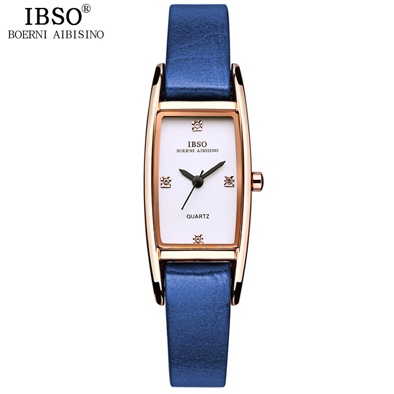 IBSO Thin Leather Women Watches Rose Gold Rectangle Dial Ladies Quartz Watch Relogio Feminino 2018 Women Wrist Watch #3921 2018 women rectangle dial relogio feminino faux leather band fashion no numbers quartz wrist watch vestidos mujer