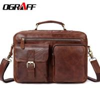 OGRAFF Large Messenger Bag Men Leather Briefcase Laptop Crossbody Bag Genuine Leather Shoulder Bag Handbag Tote Famous Brand New