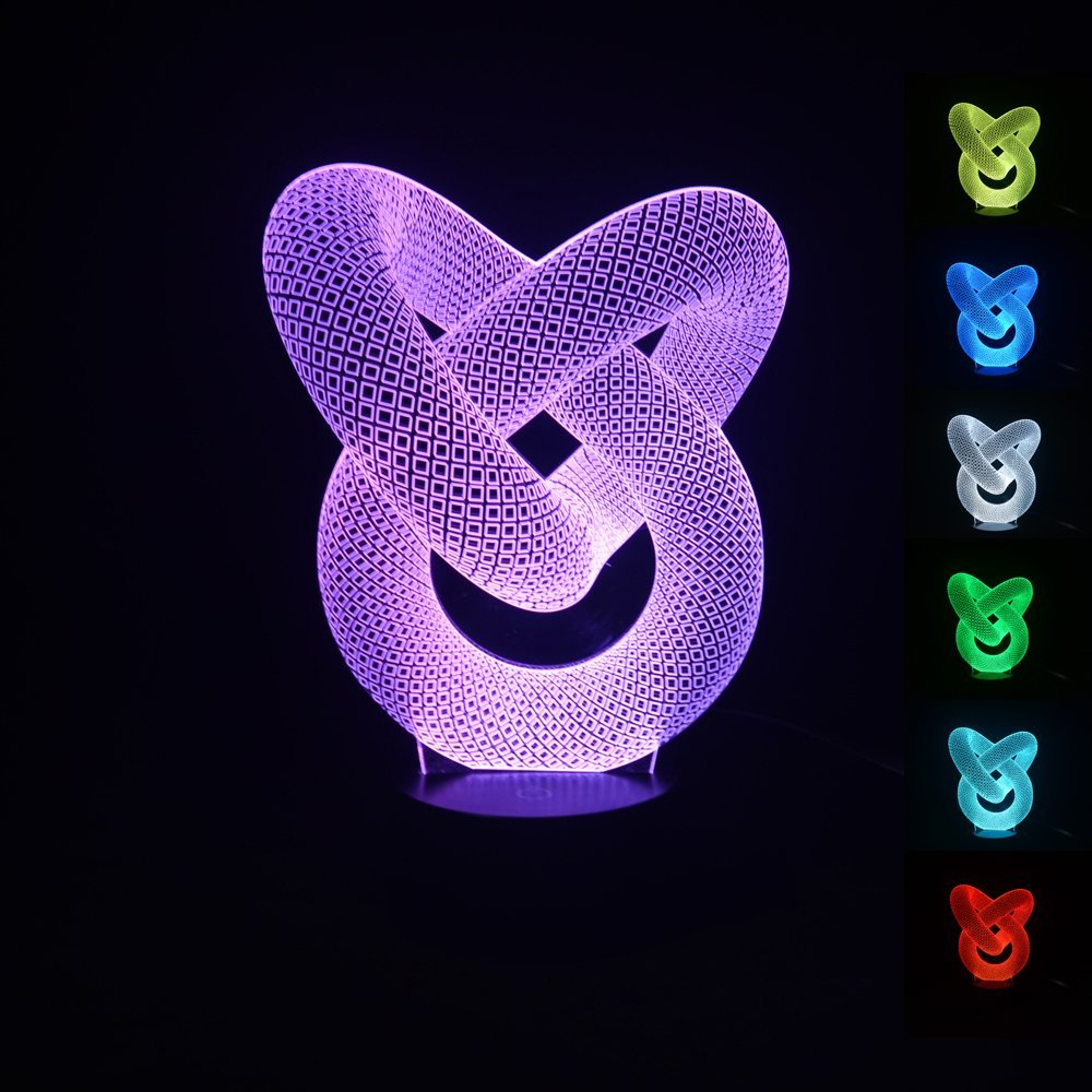 100240v 3D Modern Artistic Circle Bulbing Illusion Night 7 Color Changing USB Touch Button LED Desk Table Light Lamp In Lights From Lighting