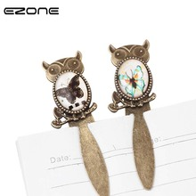 EZONE Mini Glass Cabochon Owl Butterfly Metal Bookmark Vintage Cartoon Book Marker Book Holder Stationery Office School Supplies