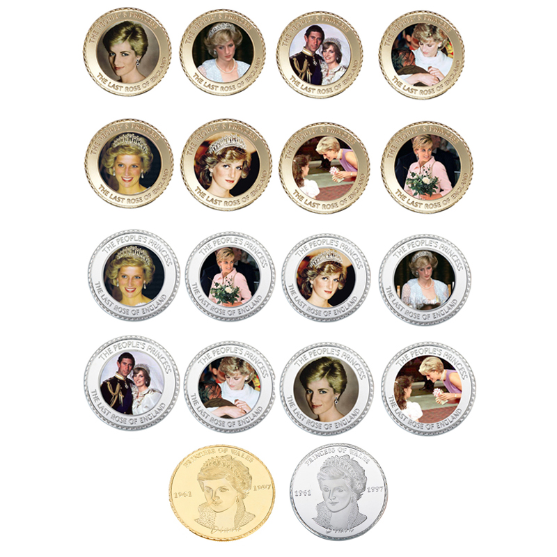 16pcs lot 24k Gold silver Plated Metal Coin Christmas Gifts Souvenir Coins Princess Diana Challenge Coins