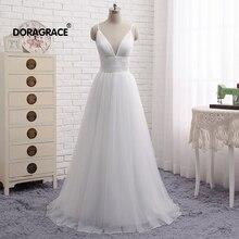 Doragrace V-Neck Sleeveless Spaghetti Straps A-Line Tulle Wedding Dresses