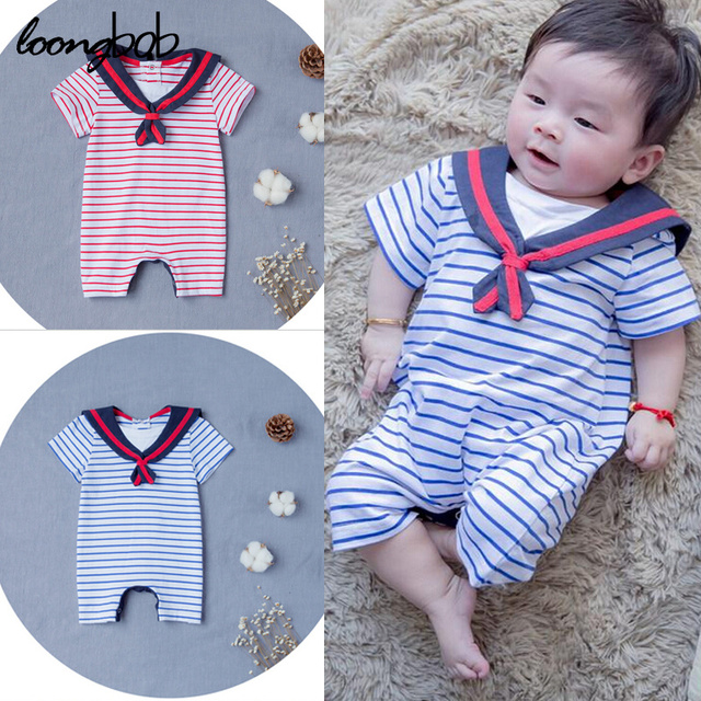 07e31b77e Summer Baby Navy Style Jumpsuit Preppy Striped bebes Rompers ...