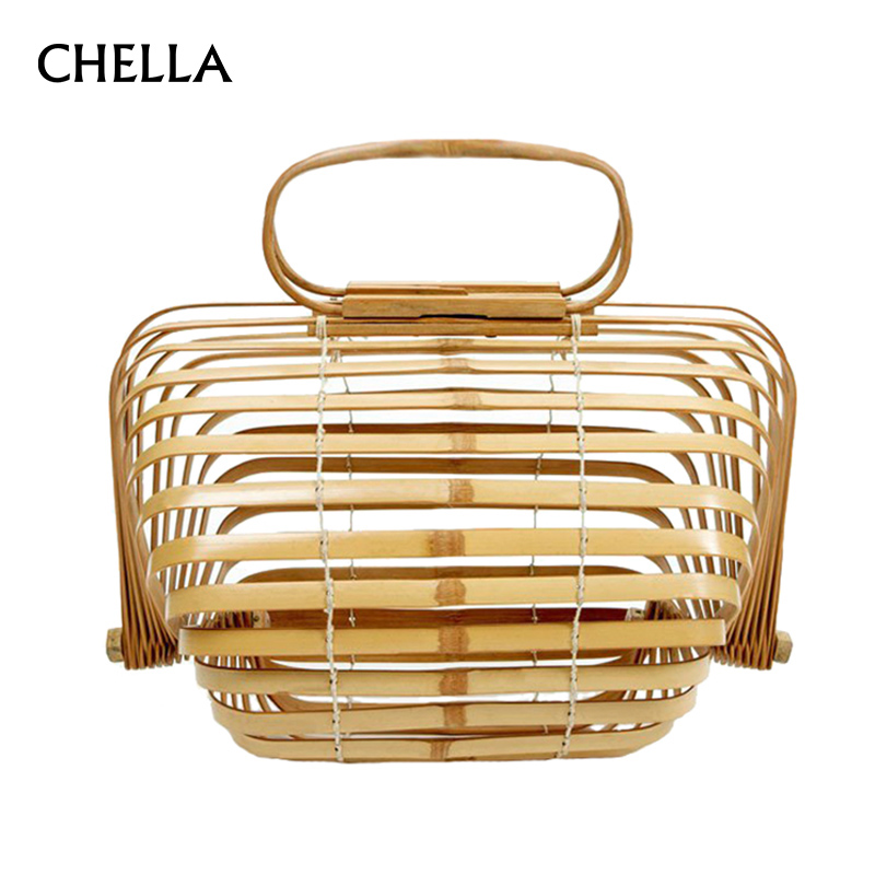 Women Bamboo Bags Female Summer Beach Handbag Lady Vintage Ratten Knitted Bag INS Popular Travel Fold Hollow Clutch Tote SS0400 die ratten