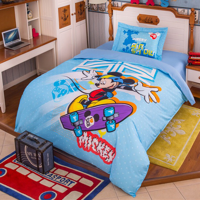 Mickey mouse bedding set for boy\'s home decor light blue character ...