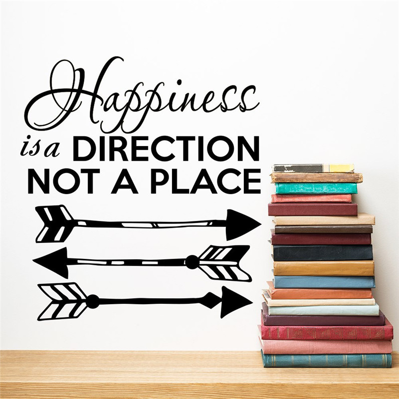 Fashion Boho Arrow Qoutes Wall Sticker Happiness is a Direction Home Wall Stickers Living Room Decorative Vinyl Adesivo