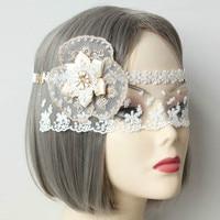 Bridal wit kant prinses kant vlinder masker sluier hoofdtooi sexy fun sluier prom party bar nachtclub bridal bruiloft accessoires