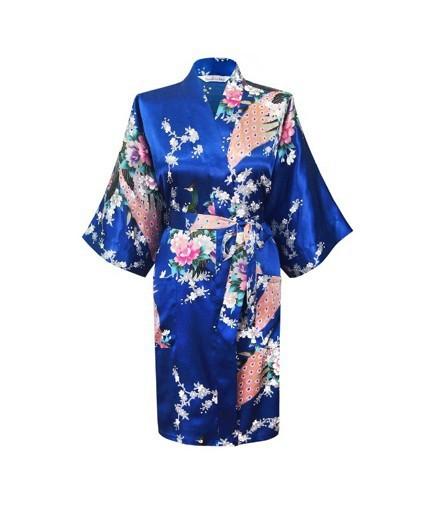 Alta Moda Azul das Mulheres Chinesas de Cetim Kimono Robe Vestido Clássico Yukata Flor Sleepwear Frete Grátis S M L XL XXL XXXL