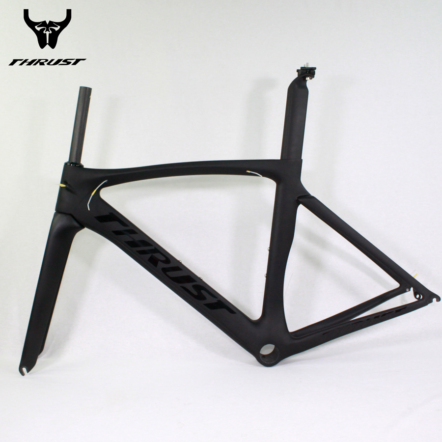 Carbon Road Frame THRUST Bicycle Frame UD Black Road Bike Di2 Mechanical Carbon Frame 49 52 54 56 58cm Road Carbon Frame 53cm 55cm 58cm fixed gear bike frame matte black bike frame fixie bicycle frame aluminum alloy frame with carbon fork