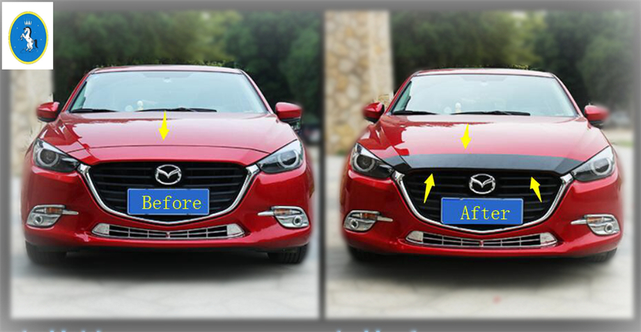 Yimaautotrims Accessories Exterior Front Up Grill Grille Around Hoods Cover Trim ABS For Mazda 3 AXELA Sedan Hatchback 2017 2018 for mazda 3 axela 2014 2015 2016 abs chrome front grille trim center grill cover around trim car styling accessories 11 pcs set