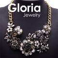 Qualityt alta marca de luxo declaração de cristal pingente colares para as mulheres 2015 gargantilha bib cadeia colar flor colar G060