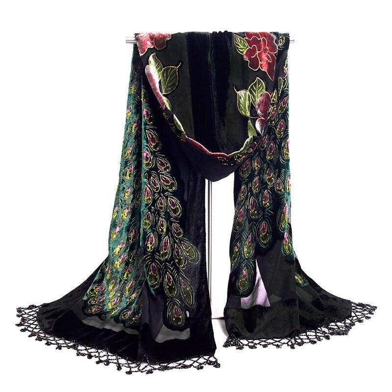 Горячая Распродажа черный женский бархатный шелковый вышитый бисером шаль шарф обертывание шарфы Peafowl WS006-H - Цвет: Черный