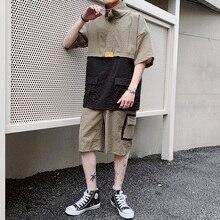 Мужская одежда Летняя мода Карманы с коротким рукавом Рубашки Шорты Спортивная одежда Человек из дву