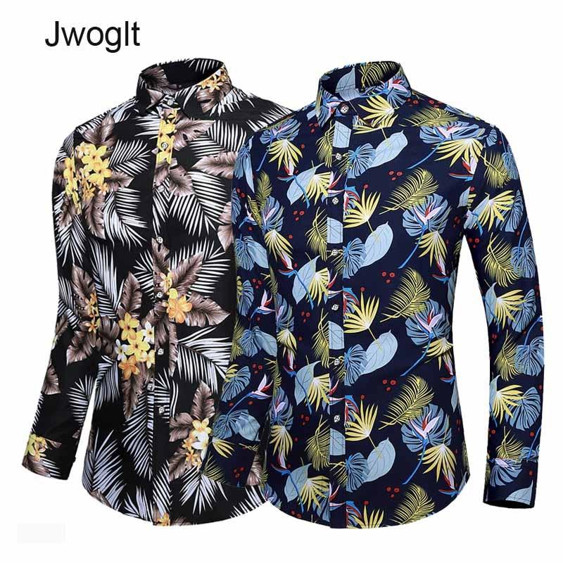 45KG-120KG Autumn New Men Shirt Casual Button Up Long Sleeve Floral Printed Shirts 5XL 6XL 7XL Drop Shipping