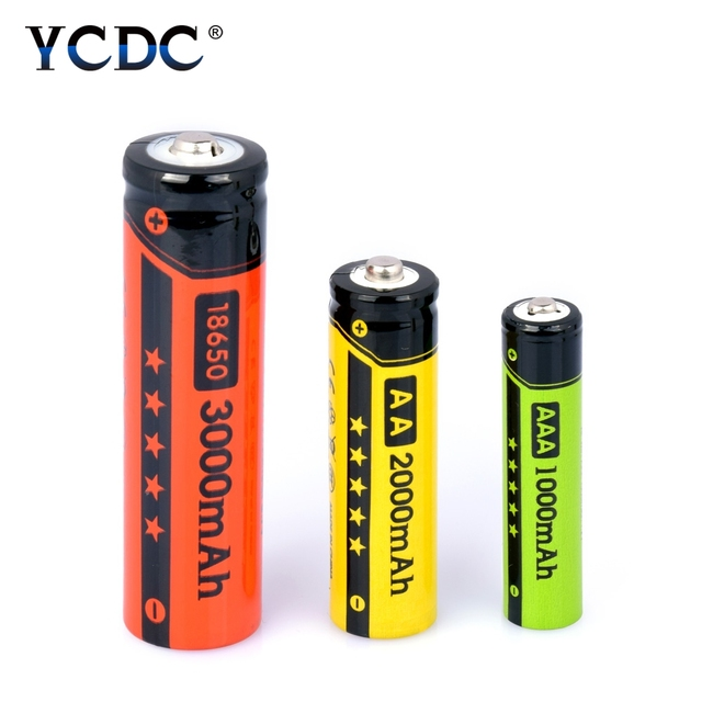 YCDC High Energy 4pcs/box AA 2000mAh Ni-MH Battery 1.2V AAA 1000mAh, 18650 3000mAh 3.7V Li-ion Cells Rechargeable Batteries nimh