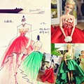 2016 Dolls Accessories Princess Doll Dresses Green/Red Colors Luxurious Gown Doll Dress