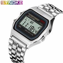 SYNOKE для женщин мужчин унисекс часы цвета: золотистый, серебристый Винтаж светодиодный цифровой G спортивные Шок Наручные часы электронные relogio masculino